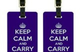 Keep Calm and Carry On Purple Luggage Tags Suitcase Carry-On ID Set of 2