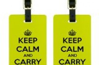 Keep Calm and Carry On Yellow Luggage Tags Suitcase Carry-On ID Set of 2